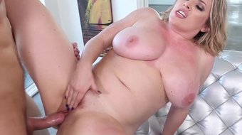 voluptuous blondie maggie green gets her big boobs %26 pink nailed hard