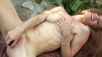 Thin Freckled Redhead Heather Carolin Dildo Drills Her Ginger Bush Outdoors