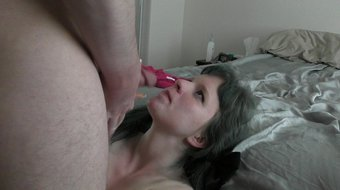 19 bitch gagged and humiliated by older man with huge facial