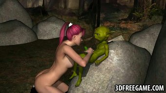 3D babe sucks on Yoda's cock