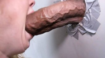 Hard cock waits for Nicki Blue in a restroom