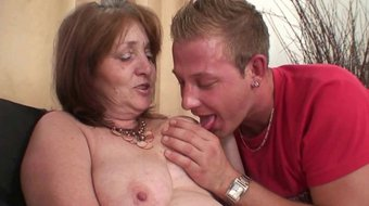 old curvy mother-in-law plays with his cheating shaft