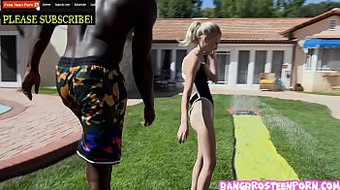 Teenie blonde Kate Bloom playing Slip and Slide and Suck!