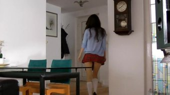 Glamour teen in short skirt rides old man
