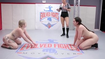Kaiia Eve vs Kyra Rose lesbian wrestling and pussy eating strapon sex