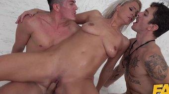 Fake Hostel Kathy Anderson rides Italian and Latina boys