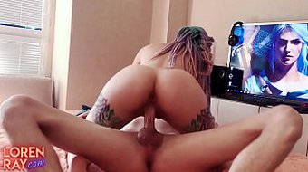 Tattoed Babe Blowjob Big Dick and Hard Doggy Sex Closeup