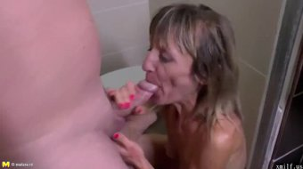Pissing mom gets fucked in all her wet holes by XMILF.US