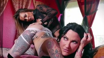 lesbian MILF action with toys