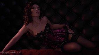 Jeny Smith bottomless corset and stockings