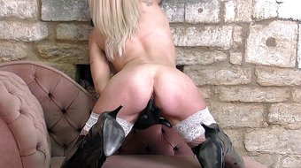 Blonde Milf strips off white lingerie fingers her wet pussy