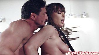Glamorous bondage model sixtynining in duo
