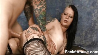Extreme face fucking and DP for Mallory Maneater round 2