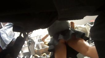 triple upskirt in shoe store