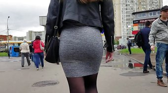 Ass in grey skirt