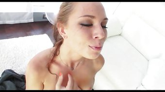 Gorgeous Brunette AF Deepthroat Blowjob