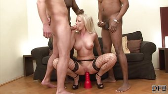 DP and hardcore anal in interracial gangbang babe gets cocks