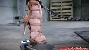 Bonded slave squirts while disciplined by dom