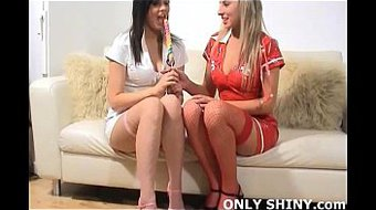 Shiny PVC lesbian nurses Alicia and Lisa