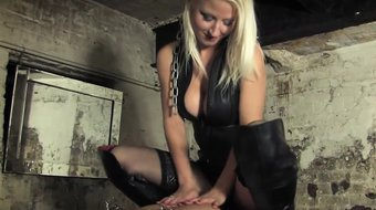 Mistress clamps sub before goldenshower