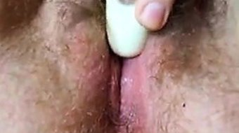 Hairy Chick Vibrates Her Pussy Close Up