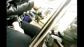 public cum on jacket in subway