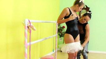 Ballerina takes strapon