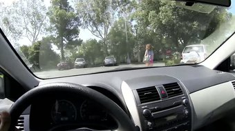 Redhead teen in parking lot convinced to fuck for money