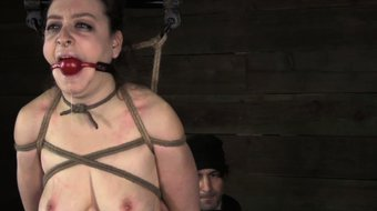 Tied up ballgagged lezdom sub caned hard