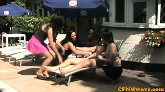 Euro CFNM babes tugging cock outdoors