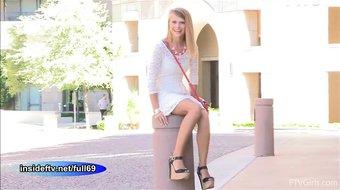 Lauren _ Cute amateur blonde flashing in public