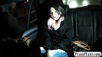 Amateur flashes tits and banged at the backseat of a taxi