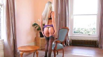 nice russian blondie in livingroom