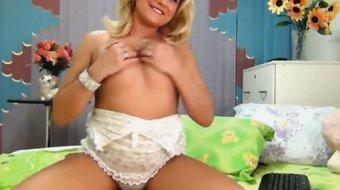 Hot Blonde Babe in Lingerie Self Pleasing