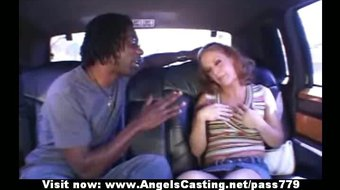 Amateur stunning redhead girl talking with a nigger and
