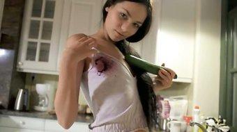 Unreal cucumber in her tight cunt