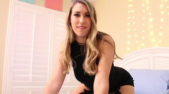 Sexy teen shows off her ass in tight dress %26 stockings!