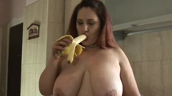Busty Crazy Maria play with big boobs and banana