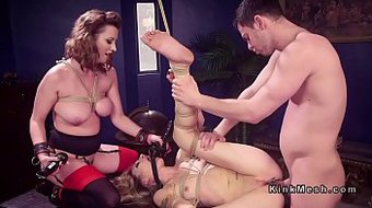 Gagged blonde anal bdsm fucked in threesome