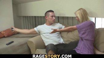 Guy punishes slutty blonde bitch rough