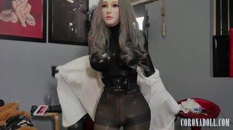 Black fully enclosed latex kigurumi