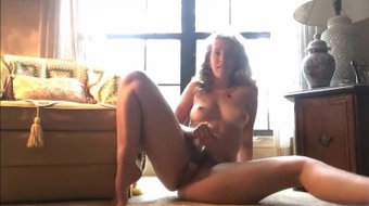 Pleasing Her Ass With Her Glass Dildo While Boyfriend Is Wanking