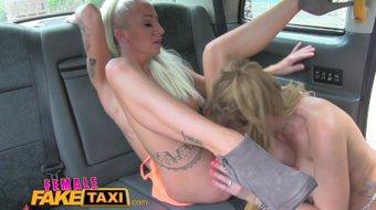 FemaleFakeTaxi Busty tattooed sexy lesbians fuck in cab
