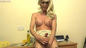 Woman with dick Joanna Jet masturbates