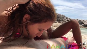 Paradise Gfs - Naked twins suck cock on beach - Part 1