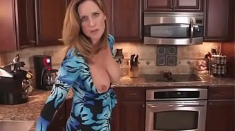 Milf; Mom Seduces son in the kitchen , hot mom want to fuck