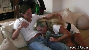 German Mom Seduce  Young Friend of her Daughter to Fuck