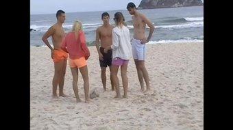 candid skinny in shorts in beach , voyeur petite ass