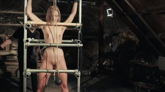 Lolly Small%27s ass takes a punishment and a deepthroat cumshot tied up