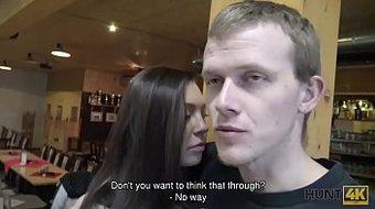 HUNT4K. Cutie makes love with stranger to earn cash for boyfriend